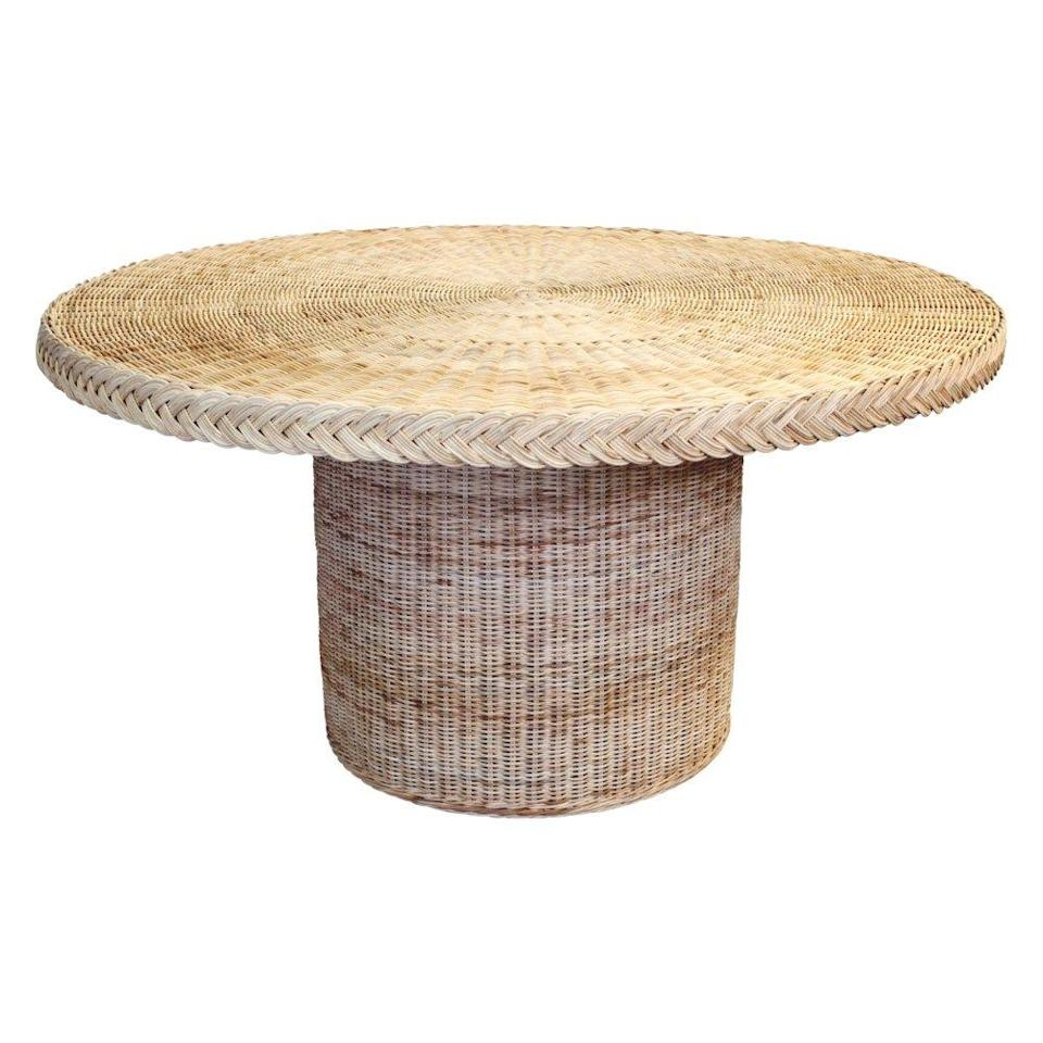 """<p>mainlybaskets.com</p><p><strong>$2792.00</strong></p><p><a href=""""https://mainlybaskets.com/categories/788430/sarah-bartholomew-cape-collection/products/mb2002/chatham-dining-table"""" rel=""""nofollow noopener"""" target=""""_blank"""" data-ylk=""""slk:Shop Now"""" class=""""link rapid-noclick-resp"""">Shop Now</a></p><p>This rattan dining table is the pièce de résistance<br> of the <a href=""""https://mainlybaskets.com/"""" rel=""""nofollow noopener"""" target=""""_blank"""" data-ylk=""""slk:Mainly Baskets x Sarah Bartholomew"""" class=""""link rapid-noclick-resp"""">Mainly Baskets x Sarah Bartholomew</a> collections. Sitting at 60"""" in diameter, it's the perfect size for an intimate six-person gathering indoors or out and can be painted in a variety of hues for a pop of color.</p>"""