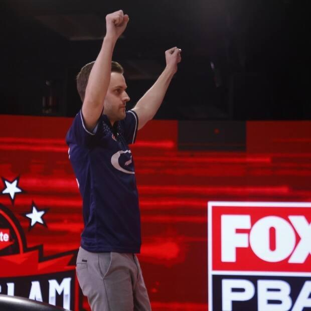 François Lavoie threw his hands in the air in victory when he realized he'd won the Super Slam bowling tournament during his ninth frame.