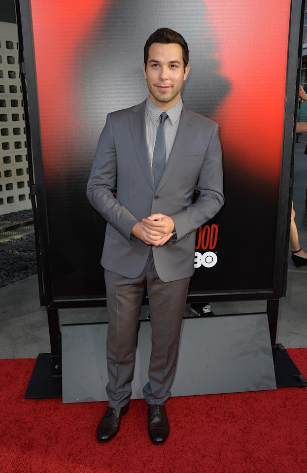 "HOLLYWOOD, CA - JUNE 11: Actor Skylar Astin attends the premiere of HBO's ""True Blood"" Season 6 at ArcLight Cinemas Cinerama Dome on June 11, 2013 in Hollywood, California.  (Photo by Frazer Harrison/Getty Images)"