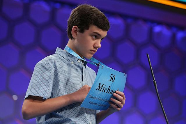<p>Michael Goss of Crowley, La., tries to spell his word during round two of 2017 Scripps National Spelling Bee. (Alex Wong/Getty Images) </p>
