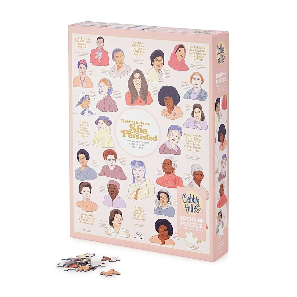 "What do you get when you combine the world's most inspiring women and a night-in activity that doesn't involve Netflix? This educational, aesthetically pleasing puzzle of quotes and illustrations featuring Gloria Steinem, Malala Yousafzai, and more. $18, Uncommon Goods. <a href=""https://www.uncommongoods.com/product/nevertheless-she-persisted-puzzle"">Get it now!</a>"