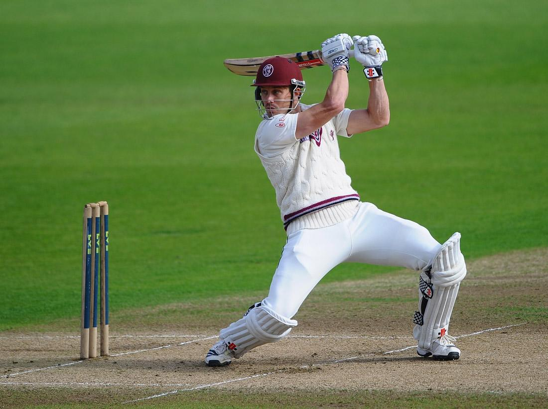Nick Compton of Somerset smashes the ball to the boundary during day three of the LV County Championship division one match between Nottinghamshire and Somerset at Trent Bridge on September 26, 2013 in Nottingham, England.  (Photo by Laurence Griffiths/Getty Images)