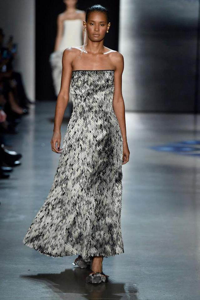 <p>A strapless animal-print mohair dress at the Prabal Gurung FW18 show. (Photo: Getty) </p>