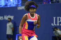 Naomi Osaka, of Japan, reacts after winning a point against Jennifer Brady, of the United States, during a semifinal match of the US Open tennis championships, Thursday, Sept. 10, 2020, in New York. (AP Photo/Seth Wenig)