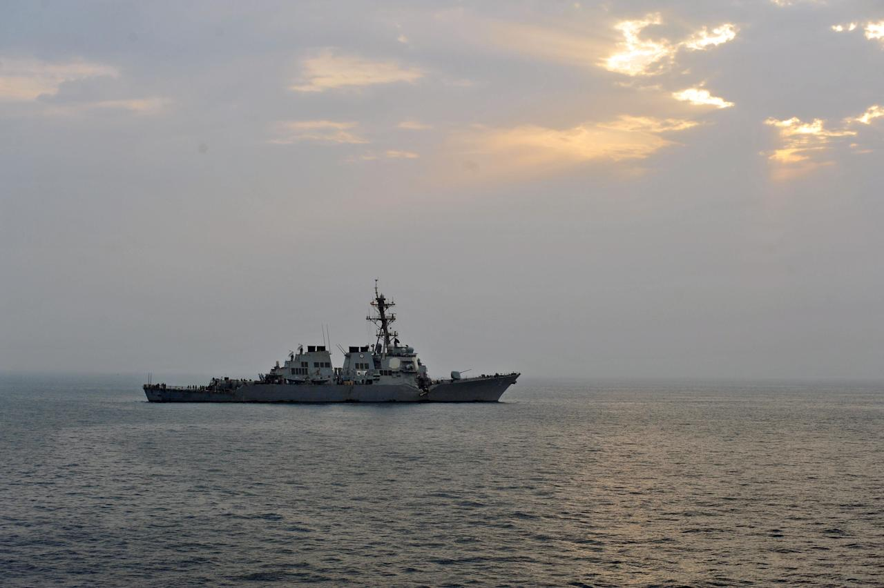 This photo provided by the U.S. Navy, Sunday, Aug. 12, 2012, shows the guided-missile destroyer USS Porter after it was damaged in a collision with the Panamanian flagged, Japanese-owned bulk oil tanker M/V Otowasan in the Strait of Hormuz early Sunday. (AP Photo/U.S. Navy, Petty Officer 3rd Class Jonathan Sunderman)