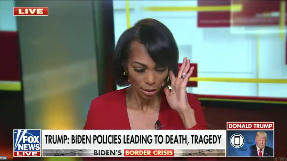 Harris Faulkner pauses during a live interview with former President Donald Trump Monday. (Screengrab via Fox News)