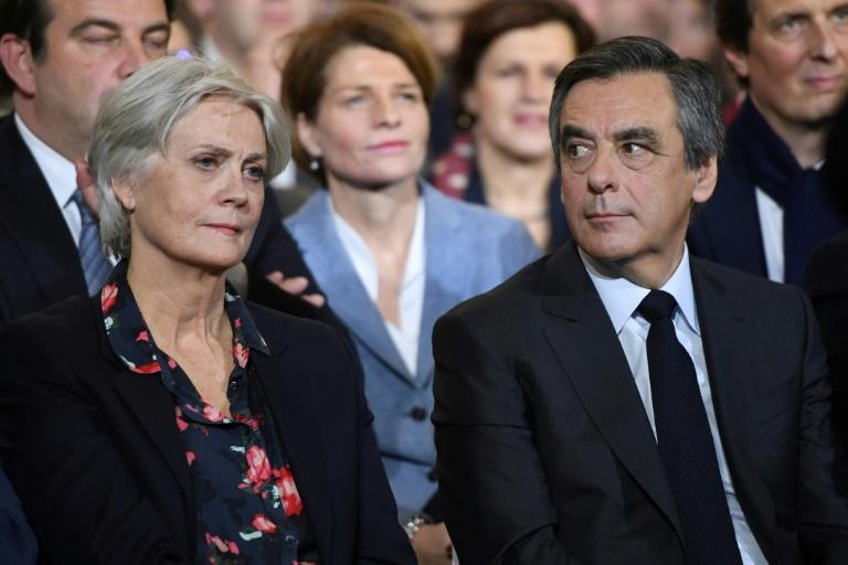 French presidential candidate Francois Fillon and his wife Penelope pictured during a campaign rally in Paris on January 29, 2017