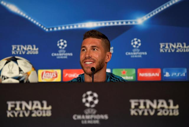 Soccer Football - Champions League Final - Real Madrid Press Conference, NSC Olympic Stadium, Kiev, Ukraine - May 25, 2018 Real Madrid's Sergio Ramos during the press conference UEFA/Pool via REUTERS *** Local Caption *** Sergio Ramos