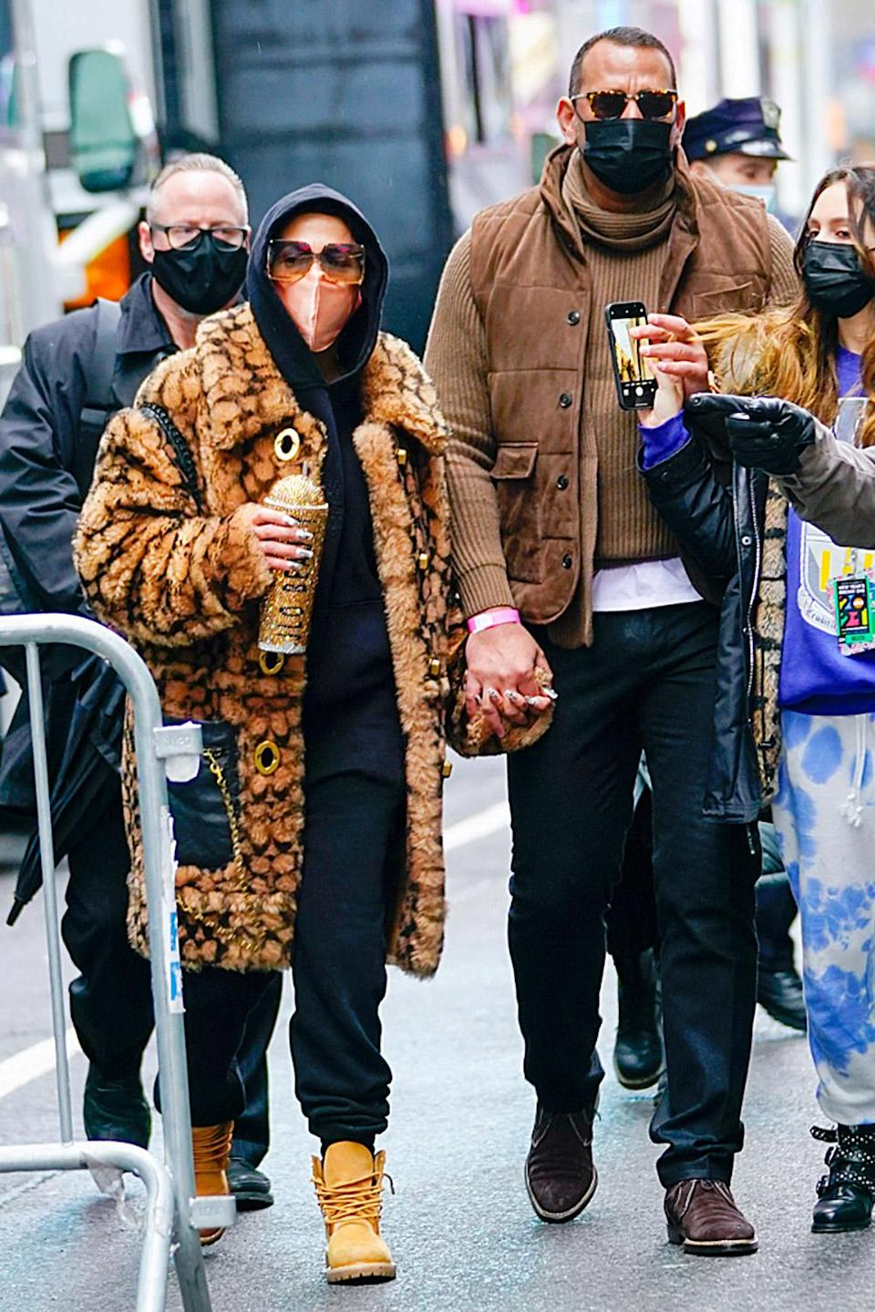 <p>Jennifer Lopez and Alex Rodriguez arrive for rehearsals for her performance on <em>Dick Clark's New Year's Rockin' Eve</em> in N.Y.C. on Thursday. </p>