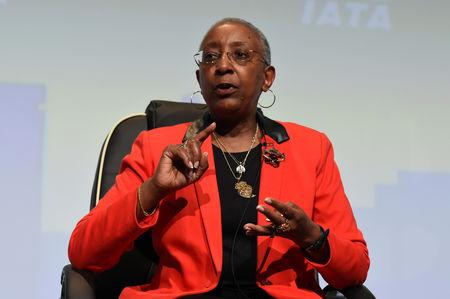 FILE PHOTO: Angela Gittens, Director General of Airports Council International, during the panel discussion on climate change goals at the 2016 International Air Transport Association (IATA) Annual General Meeting (AGM) and World Air Transport Summit in Dublin, Ireland June 3, 2016. REUTERS/Clodagh Kilcoyne/File Photo