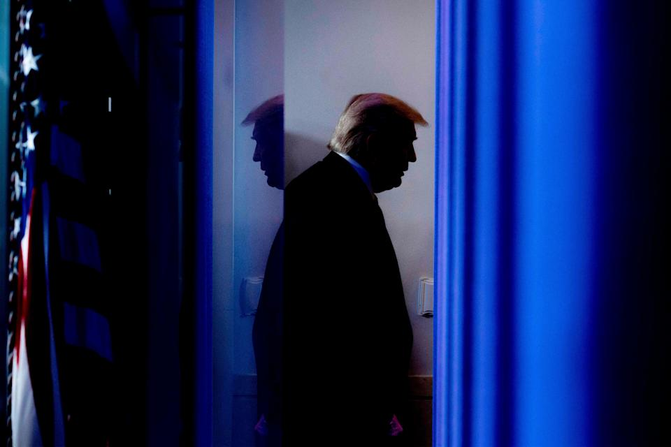 US President Donald Trump departs after speaking during the daily briefing on the novel coronavirus, which causes COVID-19, in the Brady Briefing Room of the White House on April 17, 2020, in Washington, DC (AFP via Getty Images)