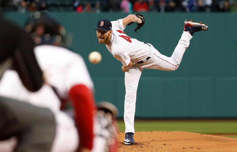 Boston Red Sox starting pitcher Chris Sale delivers against the Colorado Rockies during the first inning of a baseball game Tuesday, May 14, 2019, at Fenway Park in Boston. (AP Photo/Winslow Townson)