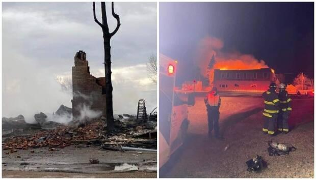 The Grange Hotel burned to the ground hours before a wildfire swept through the area on Sunday. The two fires were not related.  (Champion Fire Department - image credit)