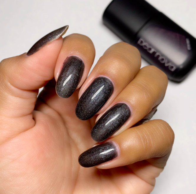 "<h3>Pear Nova After Party</h3><br>If you're committed to dark shades for the duration of the fall, consider grabbing a black in a soft-gel formula, like this one from Pear Nova. Not only will the gel give you close to three weeks of wear, but the holographic sparkle will also keep you from feeling bored after the first few days.<br><br><strong>Pear Nova</strong> After Party, $, available at <a href=""https://go.skimresources.com/?id=30283X879131&url=https%3A%2F%2Fwww.pearnova.com%2Fproduct%2Fafter-party%2F"" rel=""nofollow noopener"" target=""_blank"" data-ylk=""slk:Pear Nova"" class=""link rapid-noclick-resp"">Pear Nova</a>"