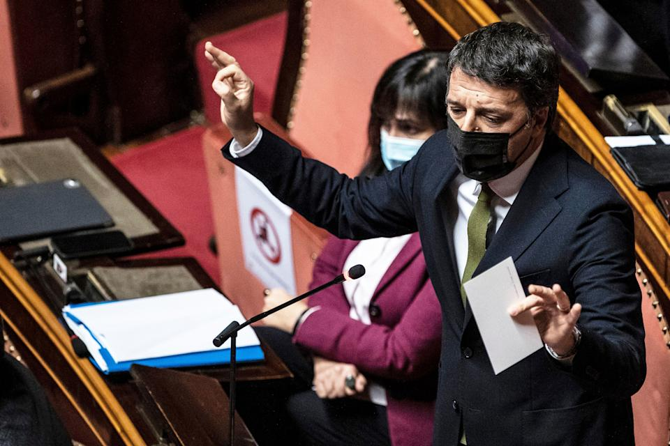 ROME, ITALY - JANUARY 19: Leader of Italia Viva and Senator Matteo Renzi addresses the Senate prior to a confidence vote on January 19, 2021 in Rome, Italy. Following the resignation of two ministers in Conte's coalition government over a dispute on spending of EU funds during the pandemic, the Italian government is on the verge of another crisis. Pool Photo by Francesco Fotia. (Photo by AB Pool - Corbis/Corbis via Getty Images) (Photo: AB Pool - Corbis via Getty Images)