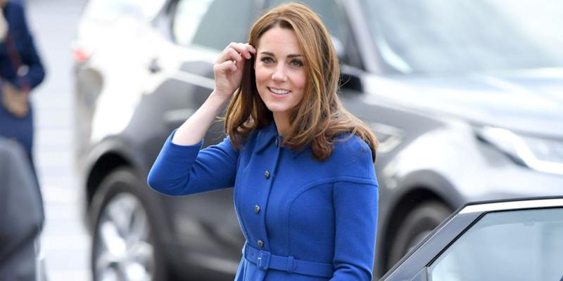 Kate Middleton wears Pantone's 2020 color of the year, Classic Blue. (Credit: Getty Images)