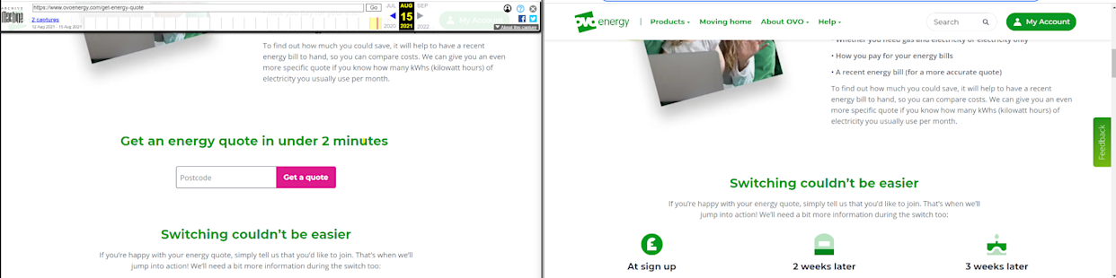 Ovo Energy's 'get a quote' button was on its website in August, left, but has since been removed, right (Screenshot from Internet Archive)