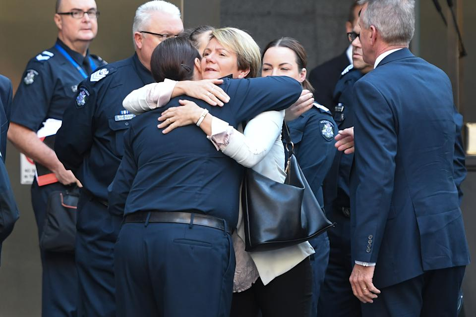Josh Prestney's Belinda Prestney (centre) greets supporters outside the County Court of Victoria in Melbourne, Wednesday, April 28, 2021. Source: AAP