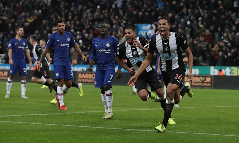 "Soccer Football - Premier League - Newcastle United v Chelsea - St James' Park, Newcastle, Britain - January 18, 2020 Newcastle United's Isaac Hayden celebrates scoring their first goal with Jamaal Lascelles as Chelsea's N'Golo Kante looks dejected Action Images via Reuters/Lee Smith EDITORIAL USE ONLY. No use with unauthorized audio, video, data, fixture lists, club/league logos or ""live"" services. Online in-match use limited to 75 images, no video emulation. No use in betting, games or single club/league/player publications. Please contact your account representative for further details."