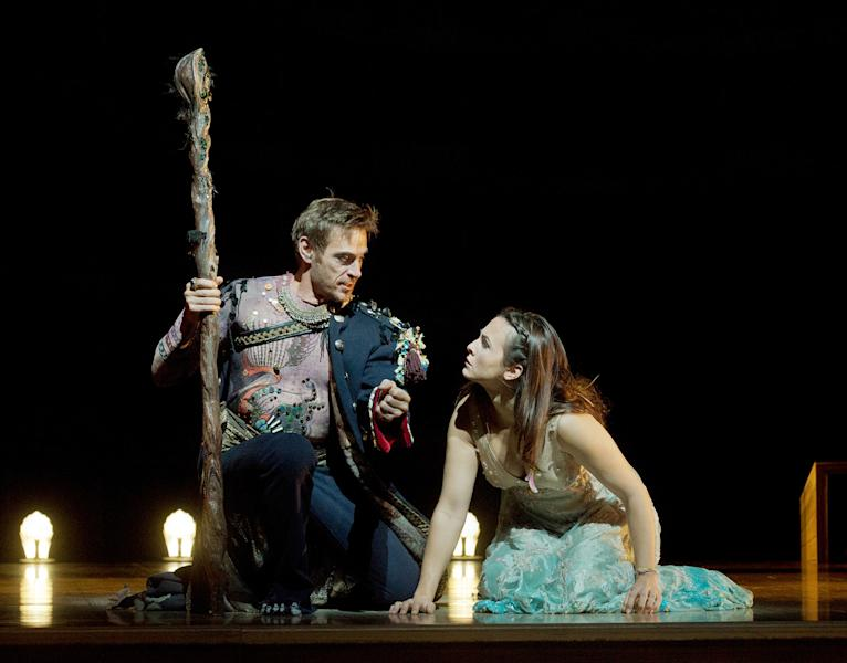 "In this Oct. 15, 2012 photo provided by the Metropolitan Opera, Simon Keenlyside is Prospero and Isabel Leonard is Miranda during a dress rehearsal of Thomas Adès's ""The Tempest,"" at the Metropolitan Opera in New York. (AP Photo/Metropolitan Opera, Ken Howard)"
