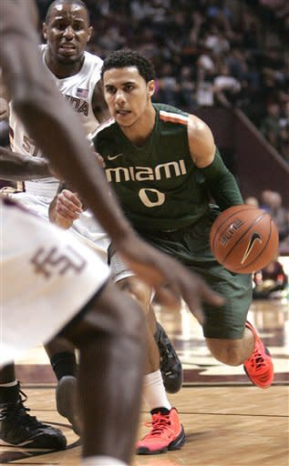 Miami's Shane Larkin looks for an opening in the Florida State defense in the first half of an NCAA college basketball game Wednesday, Feb. 13, 2013, in Tallahassee, Fla. Miami held off Florida State to win 74-68. (AP Photo/Steve Cannon)