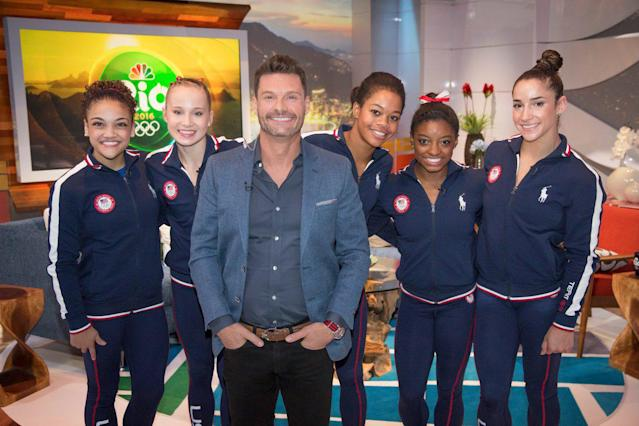 <p>The team visits Ryan Seacrest on the NBC Olympics set. (@NBCOlympics/Twitter) </p>