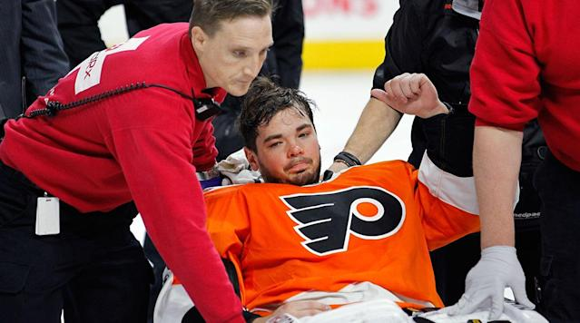 <p>PHILADELPHIA (AP) Flyers goalie Michal Neuvirth was awake and alert and being taken to Pennsylvania Hospital after collapsing in his crease early in Saturday night's game against the New Jersey Devils, according to Flyers general manager Ron Hextall.</p><p>Neuvirth was awaiting a faceoff at the far end of the ice about 7 1/2 minutes in when he fell backward and landed on his back. Flyers athletic trainer Jim McCrossin quickly ran onto the ice to attend to the 29-year-old and was joined by three other team doctors.</p><p>Neuvirth, making his 28th appearance of the season and first since March 25, appeared to be unconscious for a brief time, but began moving his arms and legs and sat up in his crease before being placed on a stretcher and carted off the ice.</p><p>Neuvirth stopped six shots before the incident and did not appear to have any unusual contact in the crease prior to his collapse. The Flyers were leading 1-0 at the time.</p><p>He was replaced in goal by Anthony Stolarz, who was called up from Lehigh Valley of the AHL earlier in the day when starting goalie Steve Mason was ill. Stolarz did not arrive at the Wells Fargo Center until just before the start and did not take warmups before the game.</p><p>Neuvirth's collapse was eerily similar to the one by former Atlanta Thrashers goalie Ondrej Pavelec in a 2010 game against the Washington Capitals. Neuvirth was the goalie for the Capitals in that game.</p>