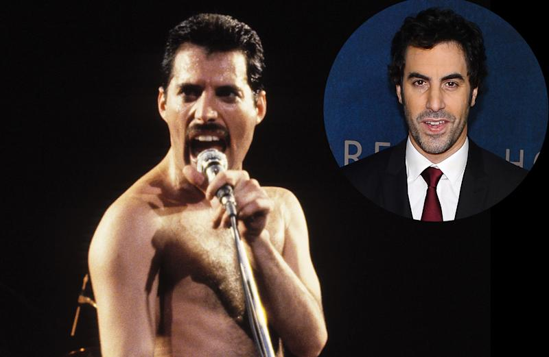 Freddie Mercury in 1982 and Sacha Baron Cohen