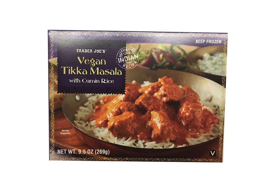<p>It's not as good as the chicken version, but if you're vegan, it's obviously the perfect replacement. It's made with a wheat gluten and soy substitute, and the texture is more like chicken than tofu. Big fan of the cumin-flavored Basmati rice.</p>