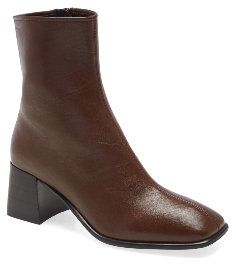 Jeffrey Campbell Troye Square Toe Bootie in Dark Coffee