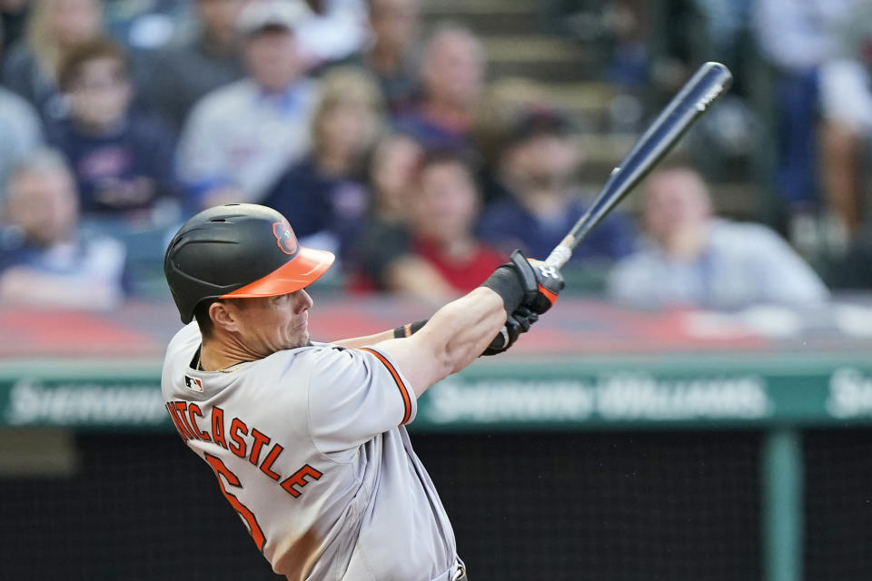 Baltimore Orioles' Ryan Mountcastle hits a two-run home run during the fifth inning of the team's baseball game against the Cleveland Indians, Wednesday, June 16, 2021, in Cleveland. (AP Photo/Tony Dejak)