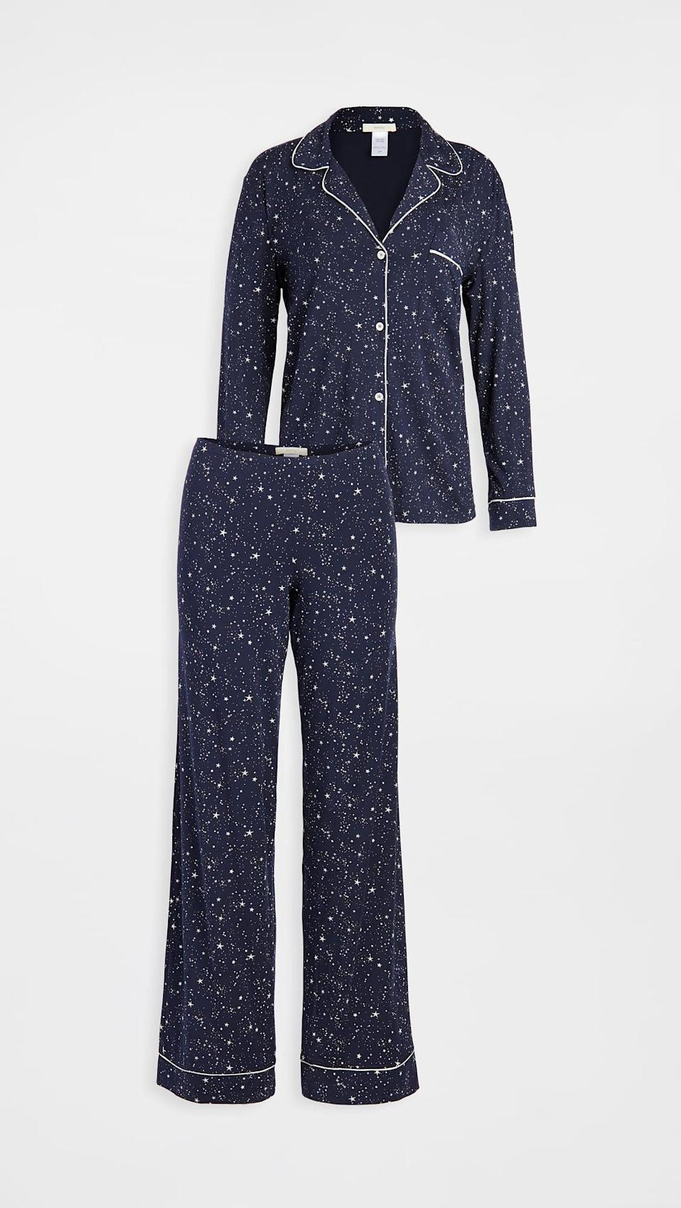 <p>Just because they like to lounge, doesn't mean they can't do it in style. This <span>Eberjey Gisele Printed The Long PJ Set</span> ($139) is cozy and cute.</p>