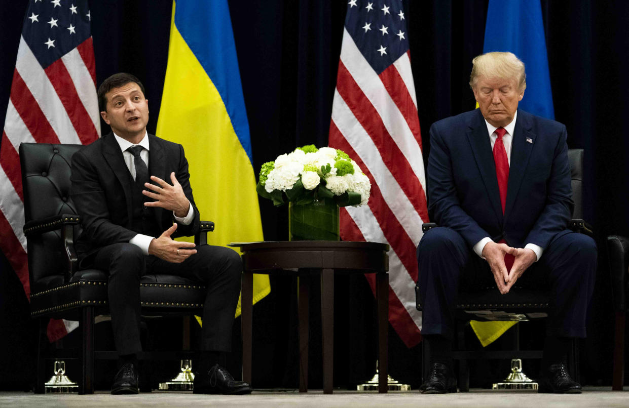 President Volodymyr Zelenskiy of Ukraine speaks while meeting with President Donald Trump at the InterContinental New York Barclay in New York, Sept. 25, 2019. (Doug Mills/The New York Times)