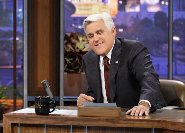 """This Nov. 5, 2012 photo released by NBC shows Jay Leno, host of """"The Tonight Show with Jay Leno,"""" on the set in Burbank, Calif. (AP Photo/NBC, Paul Drinkwater)"""