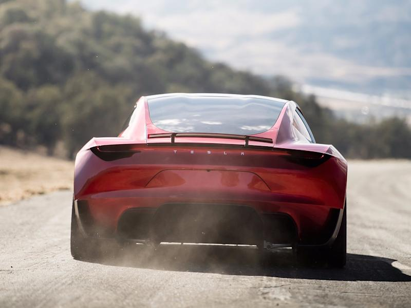 Tesla Roadster in Aktion
