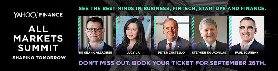 The Yahoo Finance All Markets Summit is on the 26th of September 2019 at the Shangri-La, Sydney.