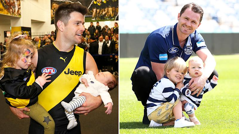 Pictured here, Trent Cotchin and Patrick Dangerfield with their children.