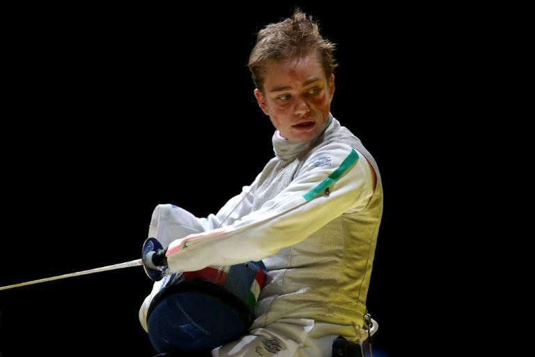 Reflective: Italy's Beatrice Vio during the wheelchair fencing women's foil individual category B competition on Saturday (AFP/Behrouz MEHRI)