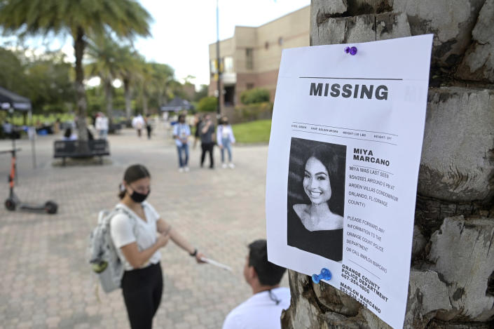 A flyer for missing teen Miya Marcano at the University of Central Florida campus on Sept. 28, 2021, in Orlando. (Phelan M. Ebenhack / AP)