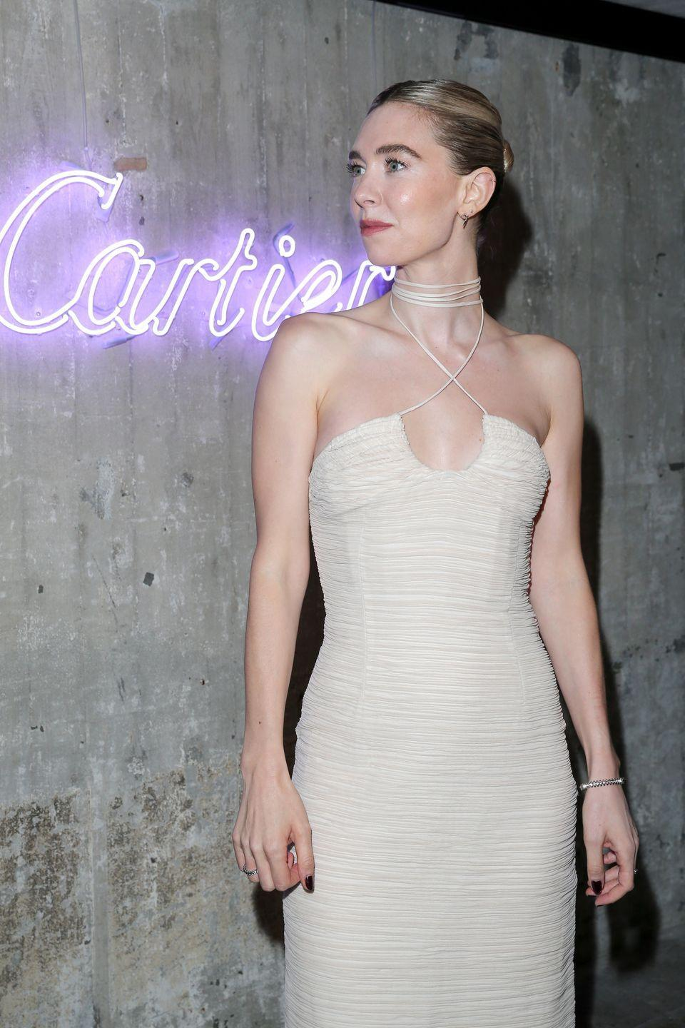 <p><strong>21 September</strong></p><p>Vanessa Kirby paired her halterneck dress with Cartier jewellery.</p>
