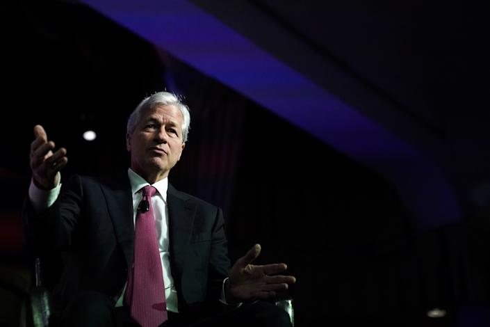 JPMorgan Chase CEO Jamie Dimon speaks at the North America's Building Trades Unions (NABTU) 2019 legislative conference in Washington, U.S., April 9, 2019. REUTERS/Jeenah Moon