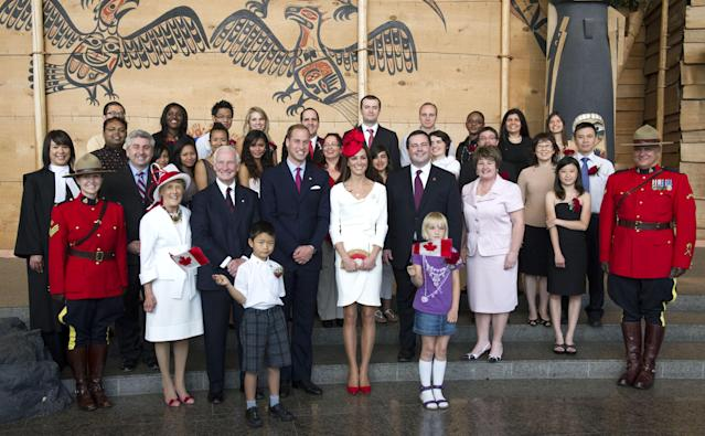 GATINEAU, QC - JULY 1: Prince William, Duke of Cambridge and Catherine, Duchess of Cambridge visit the Canadian Museum of Civilisation to attend a citizenship ceremony, on July 1, 2011 in Gatineau, Canada. The newly married Royal Couple are on the second day of their first joint overseas tour. Ottawa is the start of a 12 day visit to North America which will take in some of the more remote areas of the country such as Prince Edward Island, Yellowknife and Calgary. The Royal couple will be joining millions of Canadians in taking part in today's Canada Day celebrations which mark Canada's 144th Birthday. (Photo by Arthur Edwards-Pool/Getty Images)