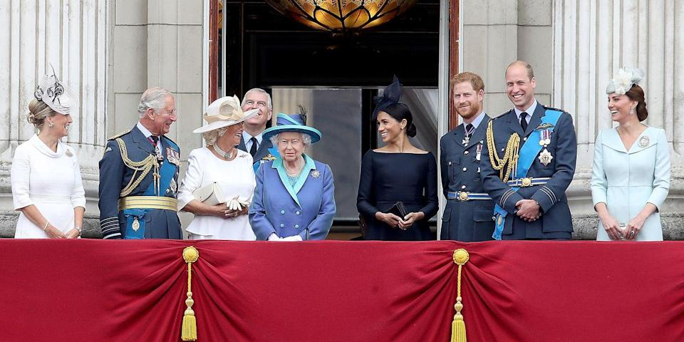 <p>Sophie, Countess of Wessex, Prince Charles, Camilla Parker Bowles, Prince Andrew, Queen Elizabeth II, Duchess Meghan, Prince Harry, Duke of Sussex, Prince William, Kate Middleton watch the Royal Air Forces fly past on the balcony of Buckingham Palace.</p>