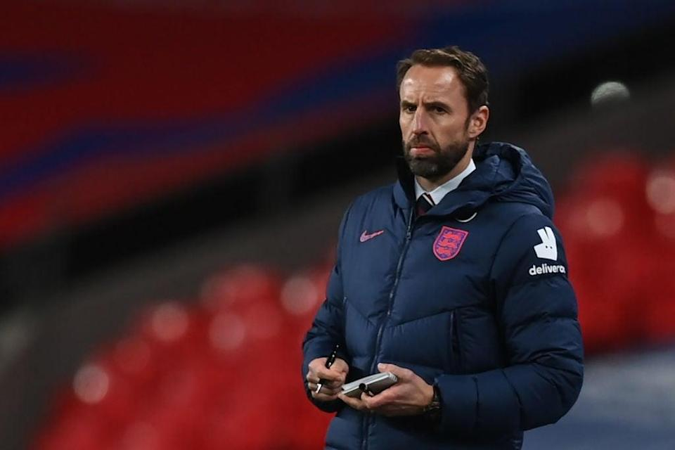"""England coach Gareth Southgate is """"very much looking"""" at Bamford ahead of the EurosPOOL/AFP via Getty Images"""