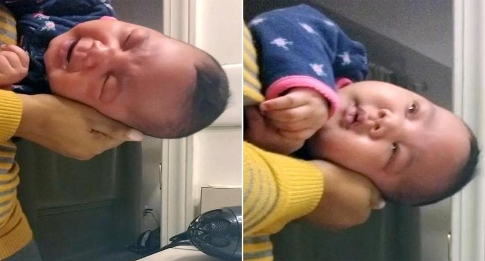 A mum's parenting hack to get a crying baby to sleep is going viral [Photo: Caters]