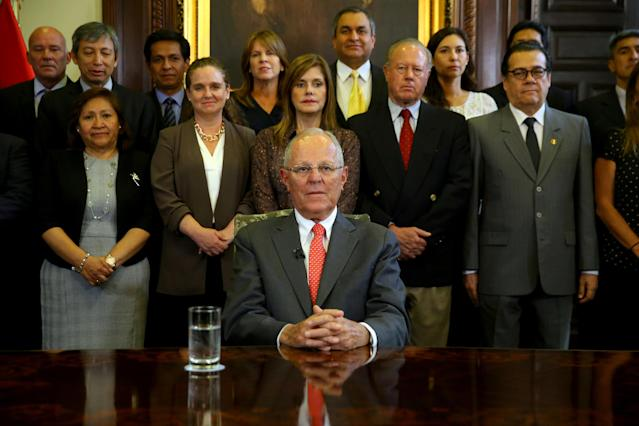 Peru's President Pedro Pablo Kuczynski addresses the nation as he resigns at the Presidential Palace in Lima, Peru March 21, 2018. Peruvian Government Palace/Handout via REUTERS ATTENTION EDITORS - THIS IMAGE WAS PROVIDED BY A THIRD PARTY TPX IMAGES OF THE DAY