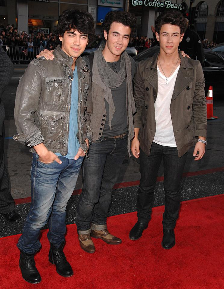 "Joe, Kevin, and Nick Jonas  ""17 Again"" Los Angeles premiere  Grade: F    Did the Jonas Brothers pick out their outfits in the dark?"