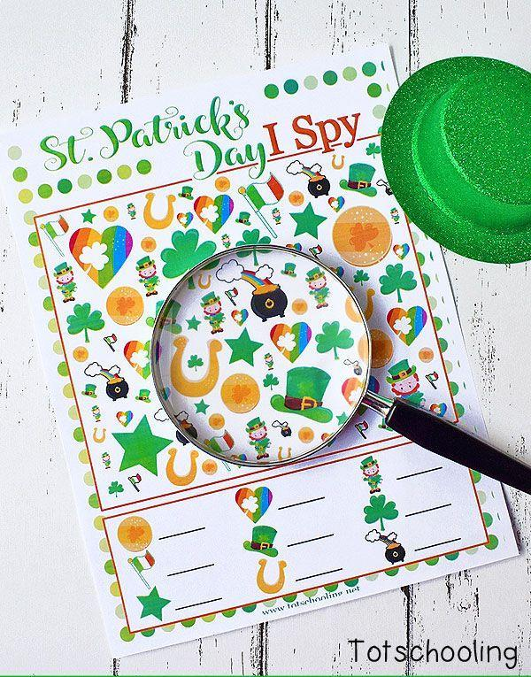 """<p>This blogger's free printable is a great way to keep the kids entertained while you're whipping up festive <a href=""""https://www.countryliving.com/food-drinks/g2251/st-patricks-day-recipes/"""" rel=""""nofollow noopener"""" target=""""_blank"""" data-ylk=""""slk:St. Patrick's Day food"""" class=""""link rapid-noclick-resp"""">St. Patrick's Day food</a> on March 17.</p><p><strong>Get the tutorial at <a href=""""https://www.totschooling.net/2018/02/free-st-patricks-day-i-spy-printable.html"""" rel=""""nofollow noopener"""" target=""""_blank"""" data-ylk=""""slk:Tot Schooling"""" class=""""link rapid-noclick-resp"""">Tot Schooling</a>.</strong></p><p><strong><a class=""""link rapid-noclick-resp"""" href=""""https://www.amazon.com/AmazonBasics-PL9-US-Thermal-Laminator/dp/B00BUI5QWS?tag=syn-yahoo-20&ascsubtag=%5Bartid%7C10050.g.26234489%5Bsrc%7Cyahoo-us"""" rel=""""nofollow noopener"""" target=""""_blank"""" data-ylk=""""slk:SHOP LAMINATORS"""">SHOP LAMINATORS</a><br></strong></p>"""