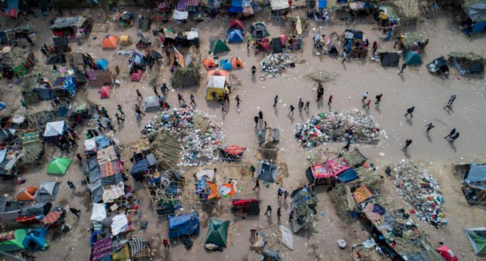 The Haitian migrant camp in Del Rio, Texas is thinning out as migrants return to Mexico or they are expelled by the U.S., as seen in these drone photos taken on Tuesday, Sept. 21, 2021