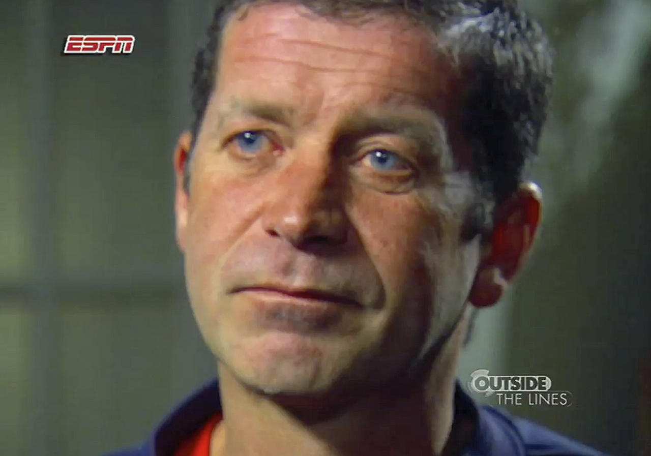 "This still frame provided by ESPN from a Nov. 17, 2011 video in Syracuse, N.Y. shows Mike Lang, 45, during an ESPN interview in which he said he was molested when he was in the fifth or sixth grade by longtime Syracuse University assistant basketball coach Bernie Fine. The school placed Fine on administrative leave Thursday night, Nov. 17, 2011, ""in light of the new allegations"" and an investigation by the Syracuse City Police. (AP Photo/ESPN) NO SALES, NO ARCHIVES, FOR EDITORIAL USE ONLY"